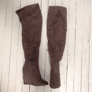 LUXE Justfab - Thigh High Wedge Grey Suede(V) Boot